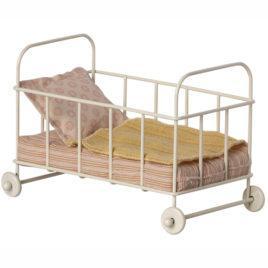 Lit Maileg Baby Cot métal  Parure jaune/orangé