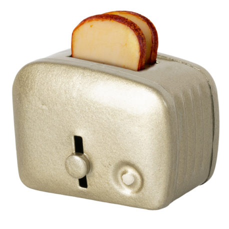 grille pain maileg miniature toaster and bread silver 11-1108-01
