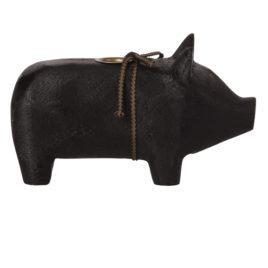 COCHON Maileg Noir 19 cm – Bougeoir – Medium