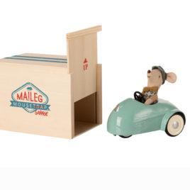 Voiture Maileg Bleue avec Garage en bois et Souris