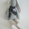 doudou lapin gris clair assis 38 cm
