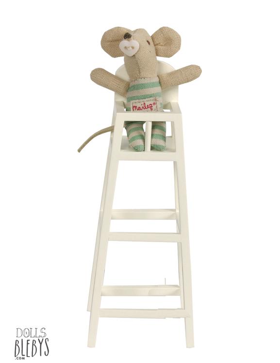 Chaise haute b b maileg en bois blebys for Chaise haute bebe bois