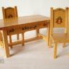 mobilier poupées bois table et 2 chaises