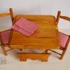 table bois poupées pliante avec 2 chaises