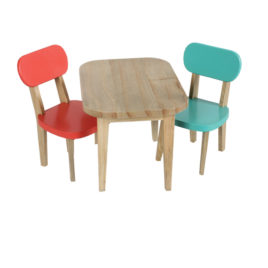 table et chaises bois MAILEG corail et turquoise