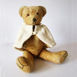 ours-ancien-1950-vintage-avec-sa-cape-d-origine