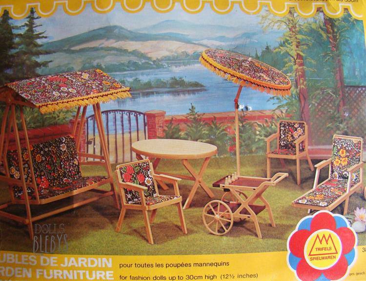 barbie 1970 Salon de jardin pour poupées mannequins