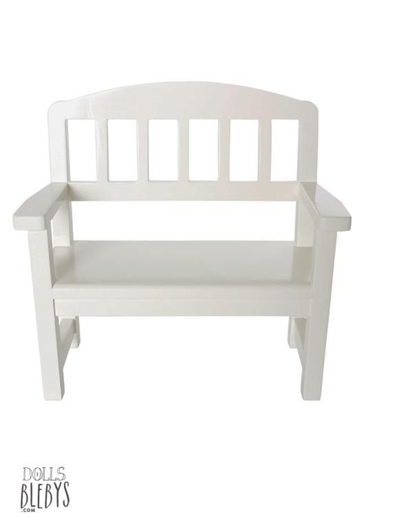 banc en bois Maileg blanc au style romantique - mobilier poupee