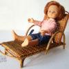 transat chaise longue rotin poupee vintage jouet ancien osier