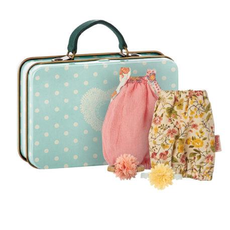 valise maileg micro avec 2 vêtements pour fille