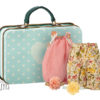 valise maileg micro suitcase with 2 dresses for girl