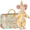 clown souris maileg avec valise mouse clown in suitcase