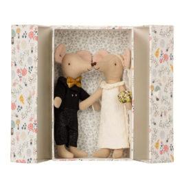 mariés maileg couple de souris avec jolie boite décorée