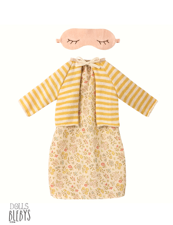 set best friend maileg cardigan et chemise de nuit plus masque jaune. Black Bedroom Furniture Sets. Home Design Ideas