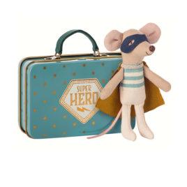 souris maileg super heros avec valise