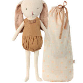 lapin maileg bunny bell or avec sac tissu