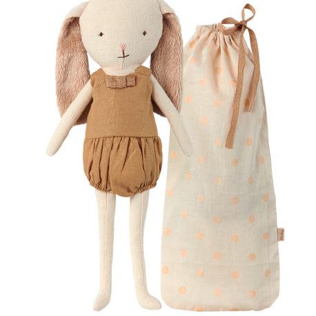 lapin maileg bunny bell or avec sac tissu