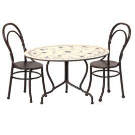 salle à manger maileg table et chaises metal noir