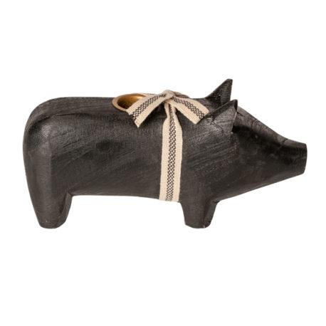 14-9801-01 cochon maileg noir bougeoir medium