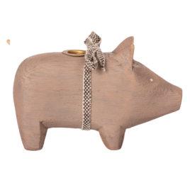 bougeoir cochon maileg wooden pig grey