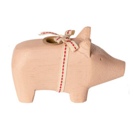 bougeoir maileg cochon rose pig small powder wooden