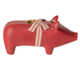 cochon maileg bougeoir rouge medium wooden