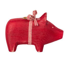 cochon maileg bougeoir rouge small wooden