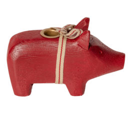 wooden pig maileg cochon bougeoir rouge small canddle