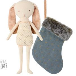 14-7101-00 lapin bunny angel maileg avec chaussette bleue