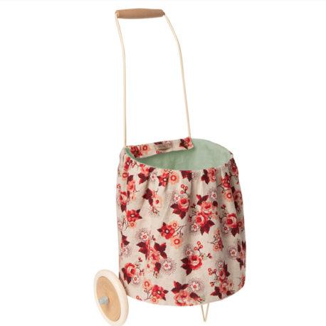 chariot maileg caddy rose à fleurs trolley rose 11040401