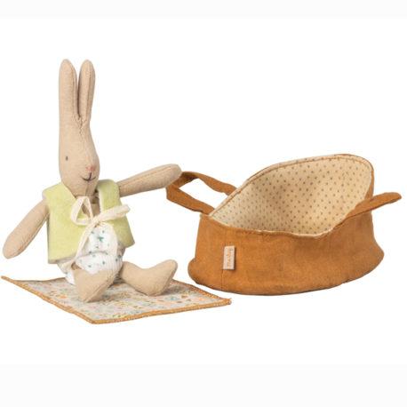 micro lapin maileg rabbit avec couffin 16300003