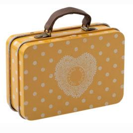 valise maileg jaune à pois en métal