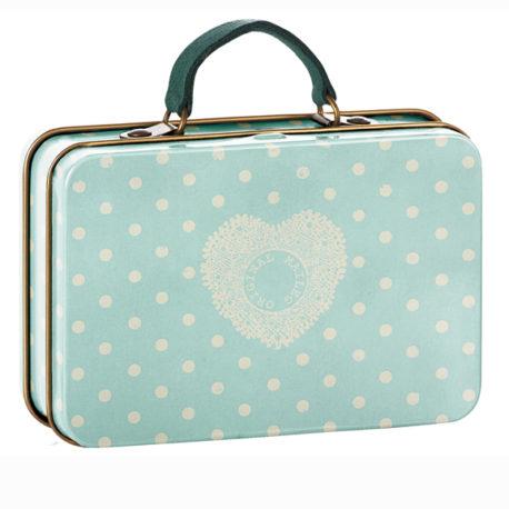 valise maileg menthe à pois en metal