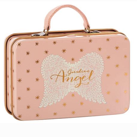 valise maileg rose à pois en metal