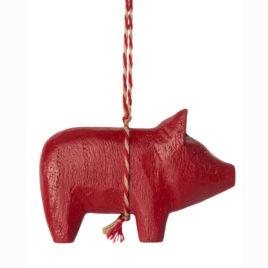 Cochon Maileg en bois Rouge à suspendre 6 cm