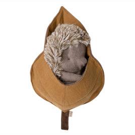 Grand HERISSON Maileg avec feuille – doudou 18 cm