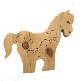 PUZZLE en bois Cheval et son Poulain – Haut 17 cm