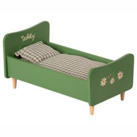 Lit Maileg Vert en bois pour Papa Teddy –  26 cm